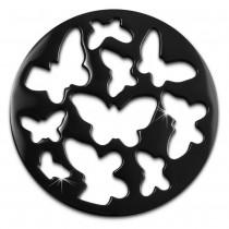 Amello Edelstahl Coin Schmetterling 30mm schwarz Coinsfassung Schmuck ESC503S