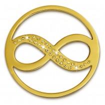 Amello Edelstahl Coin Unendlich vergoldet Zirkonia gold Stahlschmuck ESC511Y