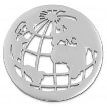 Amello Edelstahl Coin Weltkugel silber für Coinsfassung Stahlschmuck ESC517J