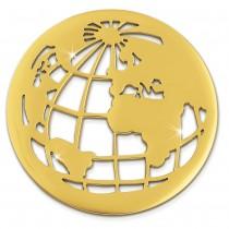 Amello Edelstahl Coin Weltkugel gold für Coinsfassung Stahlschmuck ESC517Y