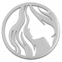 Amello Edelstahl Coin Frau 30mm silber für Coinsfassung Stahlschmuck ESC518J