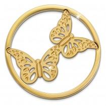 Amello Edelstahl Coin Schmetteringe gold für Coinsfassung Edelstahl ESC522Y