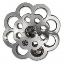 Amello Edelstahl Coin Blume klingend für Coinsfassung Stahlschmuck ESC527J