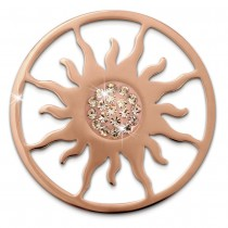 Amello Edelstahl Coin Sonnenblume rose Zirkonia weiß Stahlschmuck ESC533EE