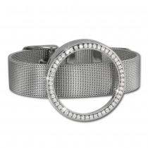Amello Edelstahl Armband mit Coin Fassung 30mm silber Zirkonia weiß ESCA01J