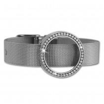 Amello Edelstahl Armband mit Coinfassung 25mm silber Zirkonia Schmuck ESCA03J