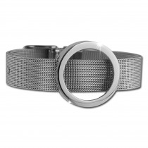 Amello Edelstahl Armband mit Coin Fassung 25mm silber Stahlschmuck ESCA06J