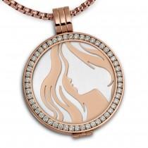 Amello Coins Ketten Set Frau Edelstahl Kettenanhänger mit Kette 80cm ESCS81W