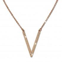 Amello Halskette rosevergoldet V-Kette Zirkonia Damen Edelstahlschmuck ESK100E