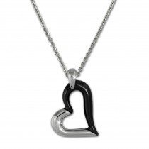 Amello Halskette Keramik Herz schwarz Damen Edelstahlschmuck ESKX26S