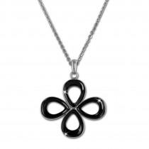 Amello Halskette Keramik Blume schwarz Damen Edelstahlschmuck ESKX28S