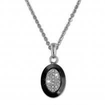 Amello Halskette Keramik Zirkonia Oval schwarz Damen Edelstahlschmuck ESKX32S