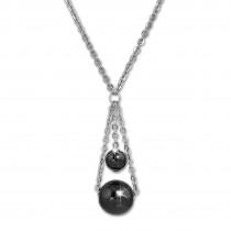 Amello Halskette Keramik Kugeln schwarz Damen Edelstahlschmuck ESKX44S5