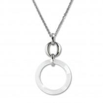 Amello Halskette Keramik Circle weiß Damen Edelstahlschmuck ESKX46W5