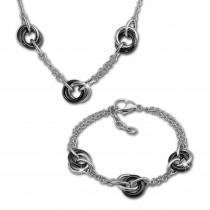 Amello Edelstahlschmuckset Keramik Ringe Kette und Armband ESSX37S