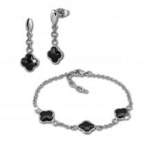 Amello Edelstahlschmuckset Keramik Kleeblatt Armband, Ohrring ESSX38S