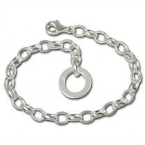 SilberDream Armband mit Plakette 925 Silber Charm Bettelarmband 17cm FC0700