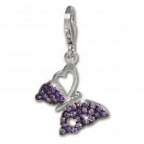 SilberDream Charm Schmetterling lila 925er Armband Anhänger FC1045V