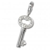 SilberDream 925 Charm Schlüssel weiß Armband Anhänger FC241W