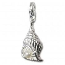 SilberDream 925 Charm Muschel weiß Silber Armband Anhänger FC242W