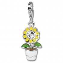 SilberDream 925 Charm Emaille Sonnenblume Armband Anhänger FC603