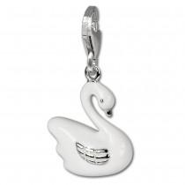 SilberDream Charm weißer Schwan 925 Silber Armband Anhänger FC645