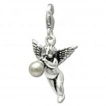 SilberDream Charm Engel mit Perlen-Trompete 925 Armband Anhänger FC696