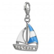 SilberDream Charm Segelboot blau 925 Silber Armband Anhänger FC862B