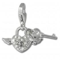 SilberDream Charm Schlüssel zum Herzen rosa 925 Silber Armband Anhänger FC874A
