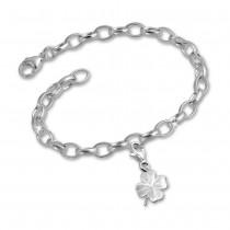 SilberDream 925 Charm Kleeblatt Silber Armband Anhänger Set FCA112