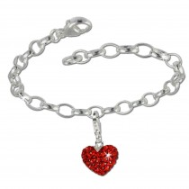 SilberDream 925 Charm Set Liebe rot Swarovski Elements Armband FCA130