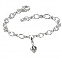 SilberDream 925 Charm Set Liebesherz Silber Armband Anhänger FCA136