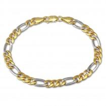 SilberDream Armband Figaro hohl bicolor 333 Gold 19cm 8 Karat GDA0409T