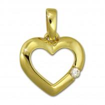 SilberDream Kettenanhänger Herz Zirkonia 375 Gold Anhänger Echtschmuck GDH003Y
