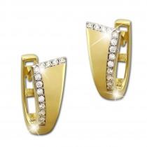 SilberDream Creole Elegance Zirkonia weiß Ohrring 333 Gold Echtschmuck GDO522WY