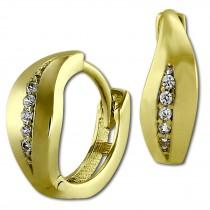 GoldDream Creole Blatt Zirkonia weiß Ohrring 333 Gelbgold Echtschmuck GDO538WY
