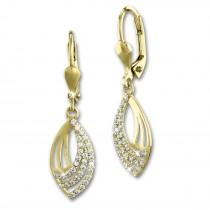 SilberDream Ohrhänger Blatt Zirkonia weiß Ohrring 333er Gold GDO552WY
