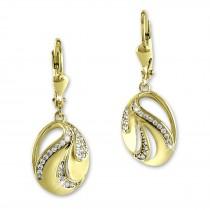 SilberDream Ohrhänger ovaler Fächer Zirkonia weiß Ohrring 333er Gold GDO554WY