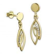 GoldDream Ohrstecker Loop Zirkonia weiß Ohrring 333 Gold Echtschmuck GDO561WY