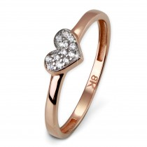 SilberDream Gold Ring Herz Zirkonia weiß Gr.58 333er Rosegold GDR503E58