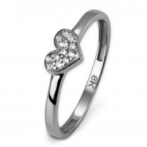 SilberDream Gold Ring Herz Zirkonia weiß Gr.56 333er Weißgold GDR503J56