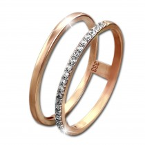 SilberDream Gold Doppel Ring Zirkonia weiß Gr.58 333er Rosegold GDR505E58