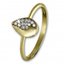 SilberDream Gold Ring Blatt Zirkonia weiß Gr.58 333er Gelbgold GDR506Y58