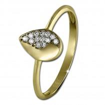 SilberDream Gold Ring Blatt Zirkonia weiß Gr.60 333er Gelbgold GDR506Y60