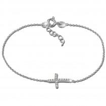 SilberDream Armband Kreuz Zirkonia 925 Silber Damen 18cm - 21cm GSA402W