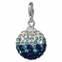 SilberDream Glitzer Charm Kugel blau/weiß Swarovski Elements GSC219B
