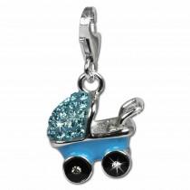 SilberDream Glitzer Charm Kinderwagen blau Zirkonia Kristalle GSC501H