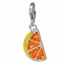SilberDream Glitzer Charm Orangenscheibe Zirkonia Kristalle GSC511O