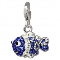 SilberDream Glitzer Charm Clownfisch blau Zirkonia Kristalle GSC518B