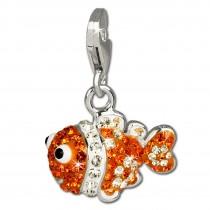 SilberDream Glitzer Charm Clownfisch orange Zirkonia Kristalle GSC518O